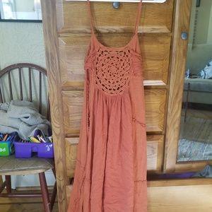 Free people crochet orange dress size large